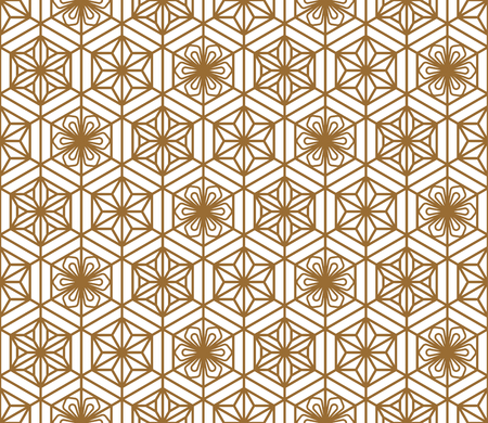Japanese seamless pattern in style Kumiko.For template,fabric,shoji screens,textile,wrapping paper,laser cutting and engraving. Japanese pattern background vector.Compound ornament.Hexagon grid Ilustração