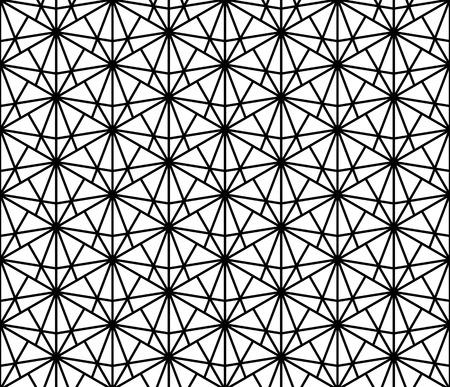 Japanese seamless pattern Kumiko black and white silhouette of lines of medium thickness