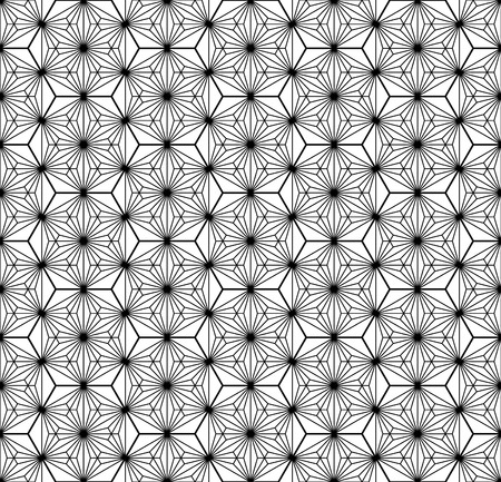 Japanese seamless geometric pattern .Black and white silhouette lines.For design template,textile,fabric,wrapping paper,laser cutting and engraving.Hexagon grid.Thick and medium thickness lines Illustration