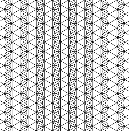 Japanese seamless geometric pattern .Black and white silhouette lines.For design template,textile,fabric,wrapping paper,laser cutting and engraving.Hexagon grid.Medium thickness lines
