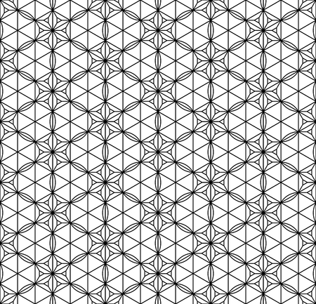 Seamless pattern based on Japanese geometric ornament.Black and white silhouette.Compound ornament.Average thickness lines.Hexagon grid.