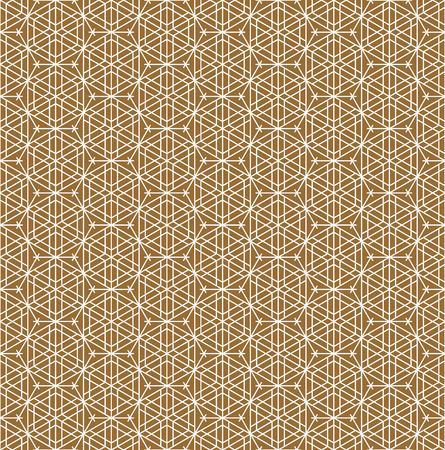 Patrón sin costuras basado en el adorno japonés Kumiko. Color de fondo dorado. Capa de patrón blanco. Líneas PROMEDIO. Ilustración de vector
