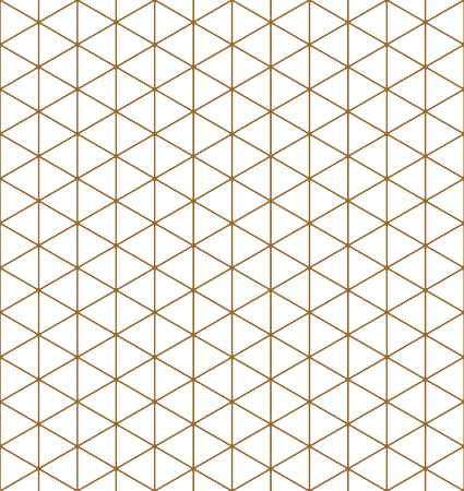 Seamless pattern.Base grid Mitsukude for japanese patterns Kumiko. Kumiko brown and white color silhouette.Average thickness lines.ROUNDED corners