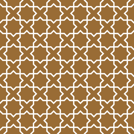 Arabic geometric ornament based on traditional arabic art. Muslim mosaic.Brown color medium thickness lines.