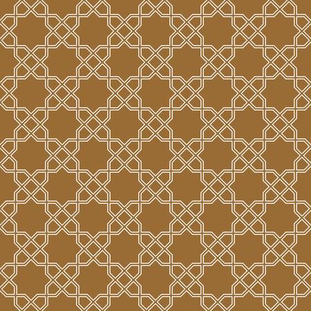 Arabic geometric ornament based on traditional arabic art. Muslim mosaic.Brown color medium thickness lines.