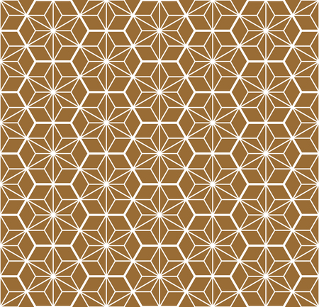 Seamless traditional geometric Japanese ornament.Golden color background and white layer lines.Hexagon grid.