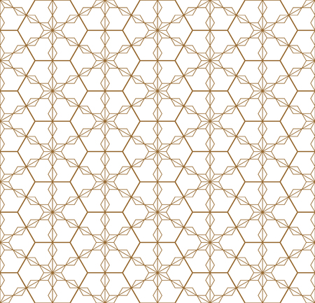 Japanese seamless geometric pattern .Gold silhouette lines.For design template,textile,fabric,wrapping paper,laser cutting and engraving.Hexagon grid.