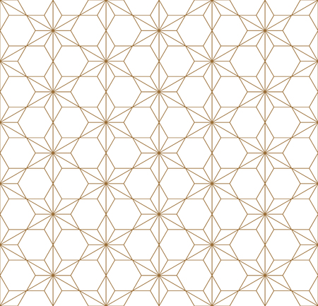 Japanese seamless geometric pattern .Gold silhouette lines.For design template,textile,fabric,wrapping paper,laser cutting and engraving.Fine lines.