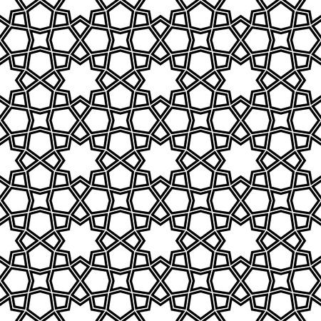 Ornamento geométrico sin costuras basado en el arte árabe tradicional.Líneas dobles son negras.Para plantilla de diseño, textil, tela, papel de regalo, grabado láser.