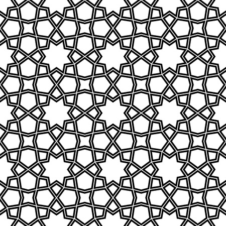 Seamless geometric ornament based on traditional arabic art.Double lines are black.For design template,textile,fabric,wrapping paper,laser engraving.
