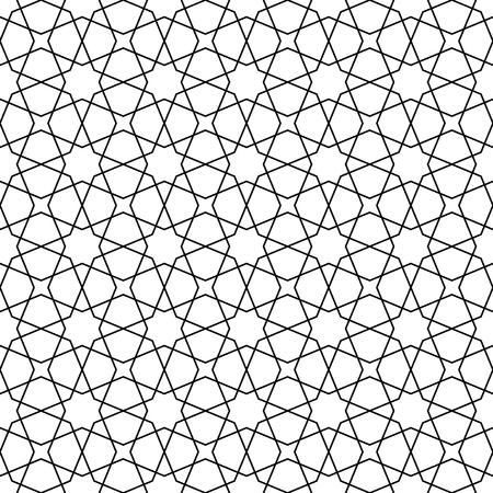 Bezszwowy ornament geometryczny oparty na tradycyjnej sztuce arabskiej. Mozaika muzułmańska. Czarno-białe linie. Świetny projekt dla tkanin, tekstyliów, okładek, papieru do pakowania, tła. Linie o średniej grubości. Ilustracje wektorowe
