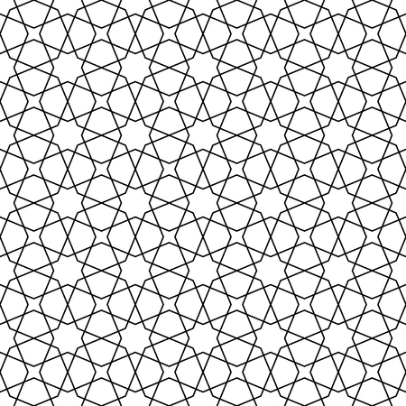 Seamless geometric ornament based on traditional arabic art. Muslim mosaic.Black and white lines.Great design for fabric,textile,cover,wrapping paper,background.Lines of average thickness. Vettoriali
