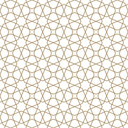 Ornamento geometrico senza cuciture basato sull'arte araba tradizionale. Mosaico musulmano.Colore marrone.Ottimo design per tessuto,tessuto,copertina,carta da regalo,sfondo.Linee di medio spessore.