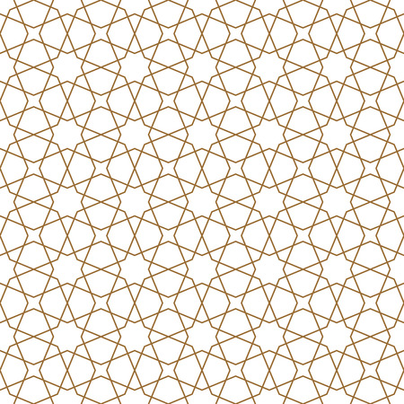 Ornement géométrique sans couture basé sur l'art arabe traditionnel. Mosaïque musulmane. Couleur marron. Grand design pour tissu, textile, couverture, papier d'emballage, arrière-plan. Lignes d'épaisseur moyenne.