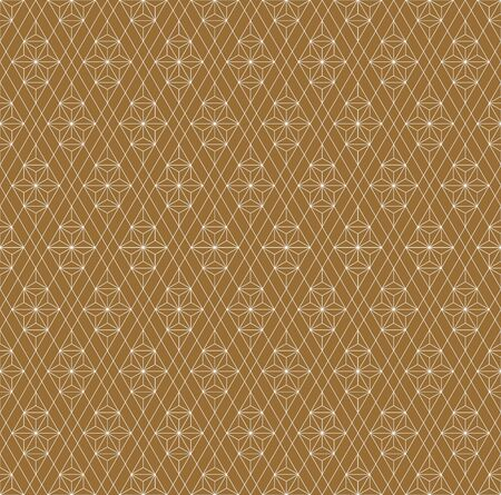 Seamless traditional geometric Japanese ornament.Golden color background and white layer lines.Fine lines.