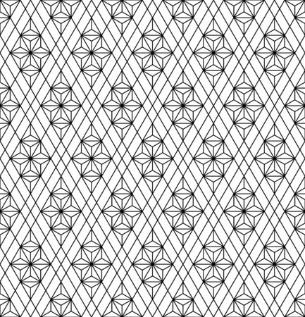 Japanese seamless geometric pattern .Black and white silhouette lines.For design template,textile,fabric,wrapping paper,laser cutting and engraving.Average thickness lines.