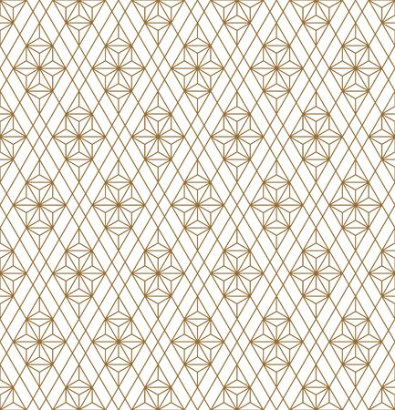 Japanese seamless geometric pattern .Gold silhouette lines.For design template,textile,fabric,wrapping paper,laser cutting and engraving.Average thickness lines.