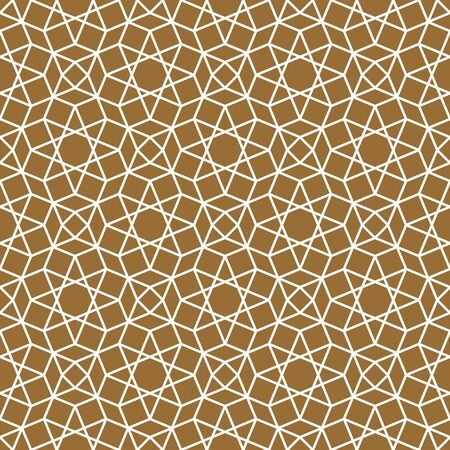 Seamless geometric ornament based on traditional arabic art. Muslim mosaic.Brown color background.THICK LINES.
