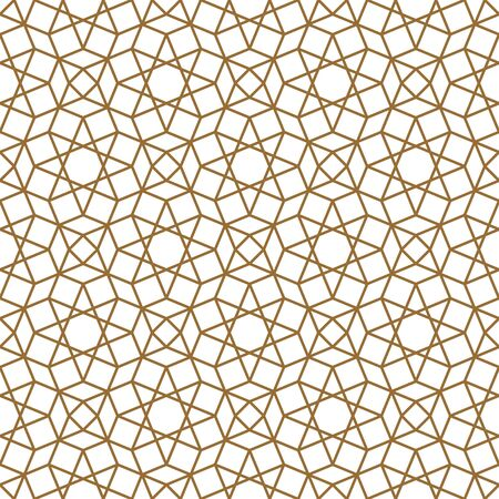 Seamless geometric ornament based on traditional arabic art. Muslim mosaic.Brown color lines.Great design for fabric,textile,cover,wrapping paper,background.Thick lines.
