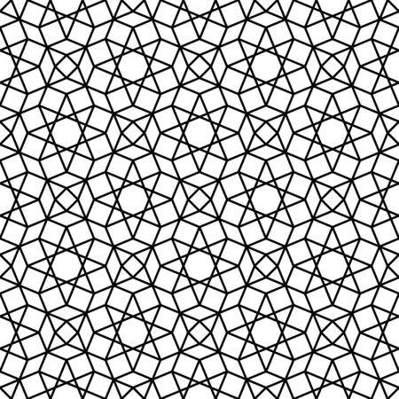 Seamless geometric ornament based on traditional arabic art. Muslim mosaic.Black and white lines.Great design for fabric,textile,cover,wrapping paper,background.Thick lines.
