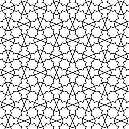 Seamless geometric ornament based on traditional arabic art. Muslim mosaic.Black and white lines.Great design for fabric,textile,cover,wrapping paper,background.Fine lines.