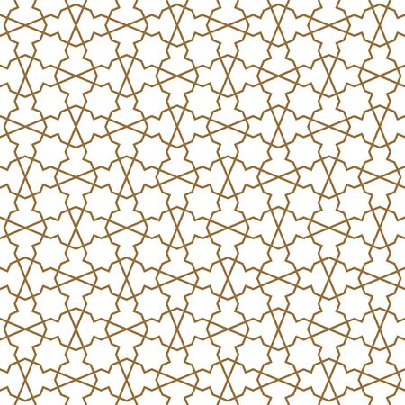 Seamless geometric ornament based on traditional arabic art. Muslim mosaic.Brown color lines.Great design for fabric,textile,cover,wrapping paper,background.Fine lines.