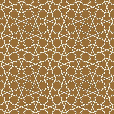 Seamless geometric ornament based on traditional arabic art. Muslim mosaic.Brown color background.Fine lines. Ilustrace