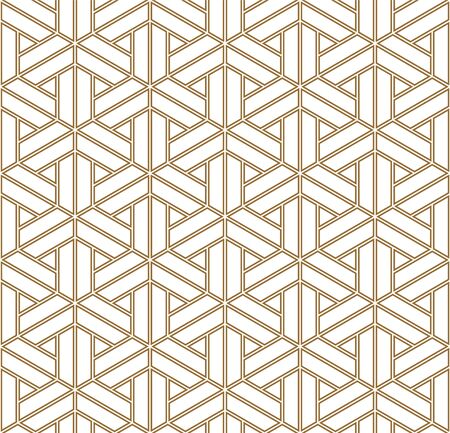 Japanese seamless geometric pattern .Doubled fine lines.For design template,textile,fabric,wrapping paper,engraving.Gold color