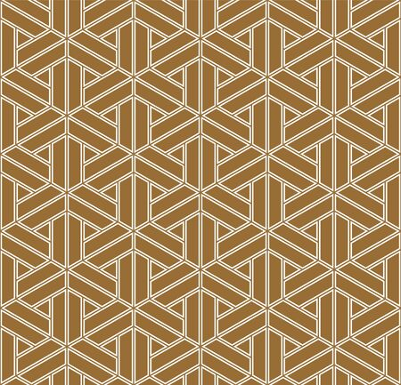 Japanese seamless geometric pattern .Doubled fine lines.For design template,textile,fabric,wrapping paper,engraving.Gold color background Ilustrace
