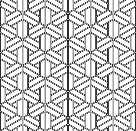 Japanese seamless geometric pattern .Black and white color.For design template,textile,fabric,wrapping paper,engraving.Doubled fine lines
