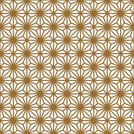 Seamless geometric pattern, great design for any purpose.Pattern background vector.Thick lines.Gold and white.Japanese style Kumiko. Ilustrace