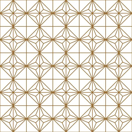 Seamless geometric pattern, great design for any purpose.Pattern background vector.Gold and white.Japanese style Kumiko.Average thickness lines. Ilustrace