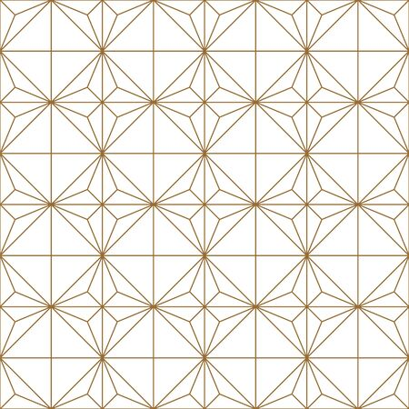 Seamless geometric pattern, great design for any purpose.Pattern background vector.Gold and white.Japanese style Kumiko.Fine lines. Ilustrace