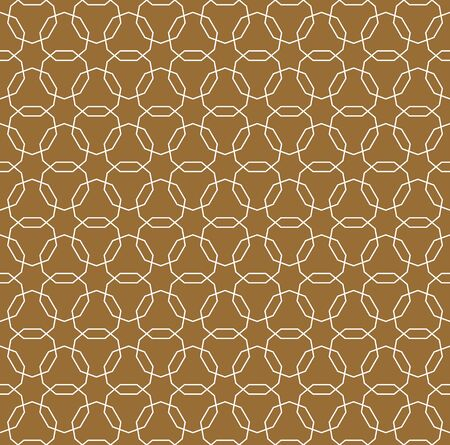 Seamless geometric ornament based on traditional arabic art. Muslim mosaic.Brown color background.Average thickness line.
