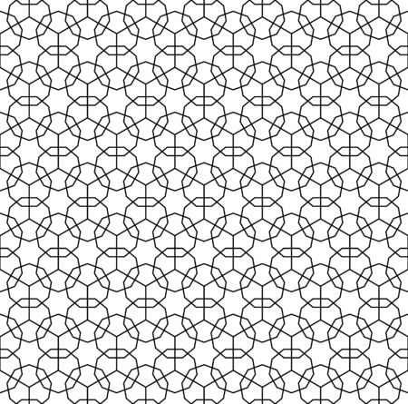 Seamless geometric ornament based on traditional arabic art. Muslim mosaic.Black and white lines.Great design for fabric,textile,cover,wrapping paper,background.Average thickness lines.