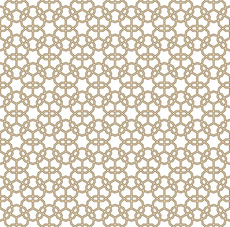Seamless geometric ornament based on traditional arabic art. Muslim mosaic.Brown color lines.Great design for fabric,textile,cover,wrapping paper,background.Average thickness.Doubled lines.