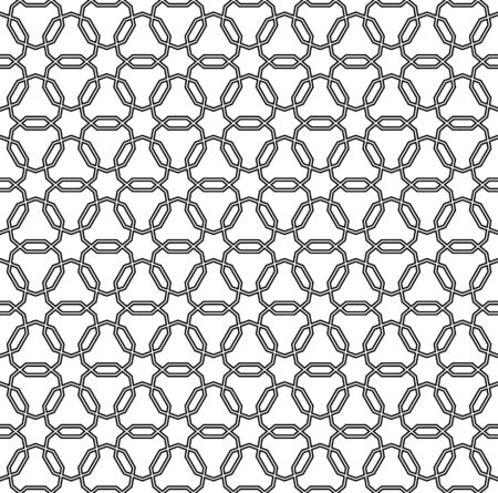 Seamless geometric ornament based on traditional arabic art. Muslim mosaic.Black and white lines.Great design for fabric,textile,cover,wrapping paper,background.Average thickness.Doubled lines.