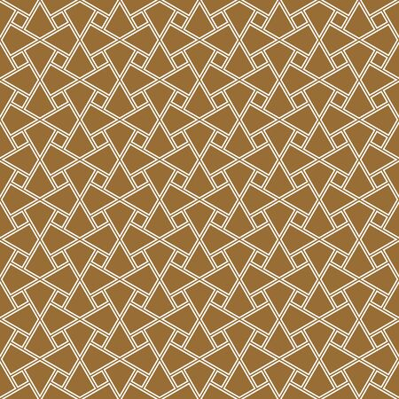 Seamless geometric ornament based on traditional arabic art. Muslim mosaic.Brown color background.Average thickness.Doubled lines.