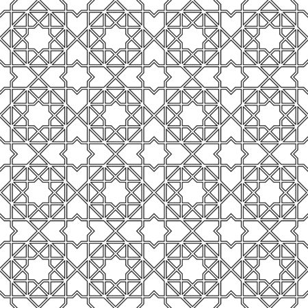 Seamless geometric ornament based on traditional arabic art. Muslim mosaic.Black and white lines.Great design for fabric,textile,cover,wrapping paper,background.Doubled lines.
