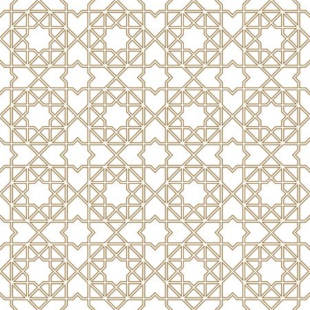 Seamless geometric ornament based on traditional arabic art. Muslim mosaic.Brown color lines.Great design for fabric,textile,cover,wrapping paper,background.Doubled lines.