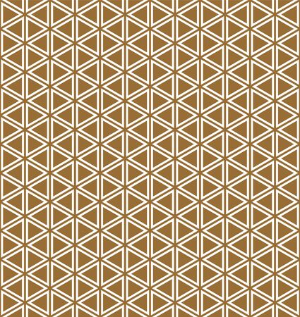 Seamless pattern.Base grid Mitsukude for japanese patterns Kumiko. Kumiko brown background and white pattern color doubled lines.