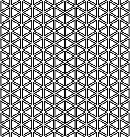 Seamless pattern.Base grid Mitsukude for japanese patterns Kumiko.Black and white.Thick doubled lines.