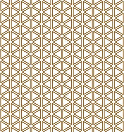 Seamless pattern.Base grid Mitsukude for patterns Kumiko. Kumiko brown and white color silhouette.Thick lines.