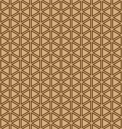 Seamless pattern.Base grid Mitsukude for japanese patterns Kumiko.Brown color doubled lines. Ilustrace