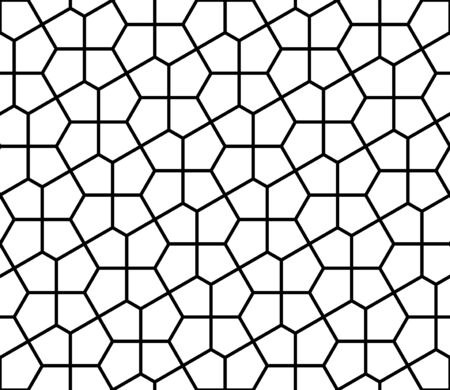 Seamless geometric ornament based on traditional arabic art. Muslim mosaic.Black and white lines.Great design for fabric,textile,cover,wrapping paper,background.Average thickness.
