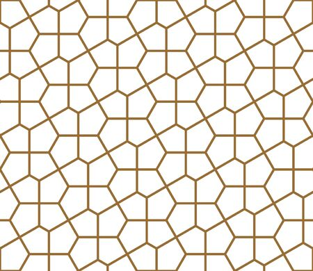 Seamless geometric ornament based on traditional arabic art. Muslim mosaic.Brown color lines.Great design for fabric,textile,cover,wrapping paper,background.Average thickness. Ilustrace
