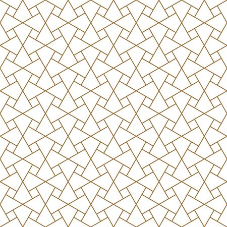 Seamless geometric ornament based on traditional arabic art. Muslim mosaic.Brown color lines.Great design for fabric,textile,cover,wrapping paper,background.Thin lines.