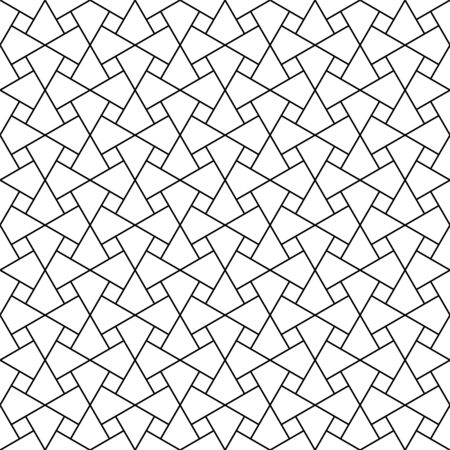 Seamless geometric ornament based on traditional arabic art. Muslim mosaic.Black and white lines.Great design for fabric,textile,cover,wrapping paper,background.Thin lines. Ilustrace