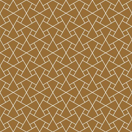 Seamless geometric ornament based on traditional arabic art. Muslim mosaic.Brown color background.Thin lines.