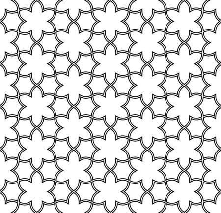 Seamless geometric ornament based on traditional arabic art. Muslim mosaic.Black and white lines.Great design for fabric,textile,cover,wrapping paper,background,laser cutting.Doubled lines. Ilustrace